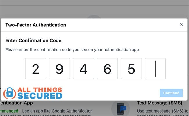 Confirm the 2FA code using Google Authenticator