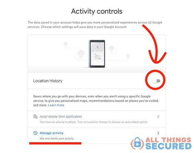 Google location history settings