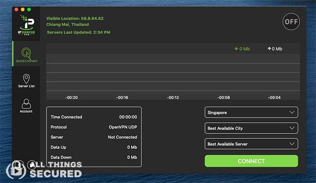 IPVanish desktop home screen
