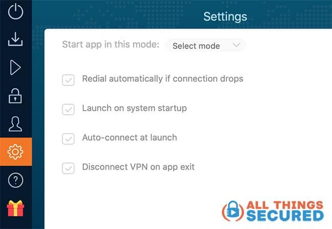 Ivacy VPN settings for the Mac OS desktop app
