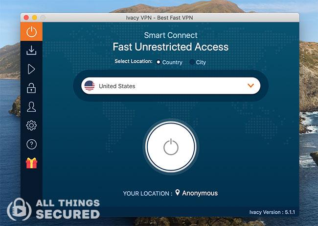 Ivacy VPN desktop app for Mac