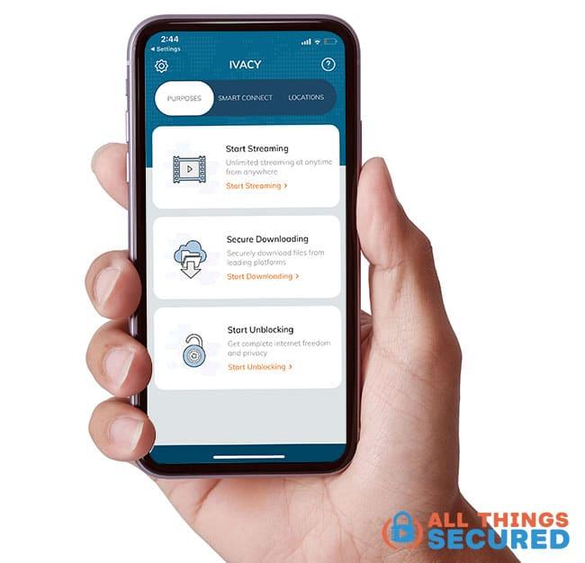 Ivacy VPN Mobile app smart connect feature