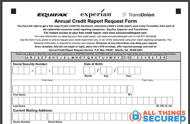 Example mail-in credit report form