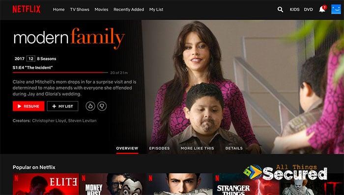Modern Family Netflix page