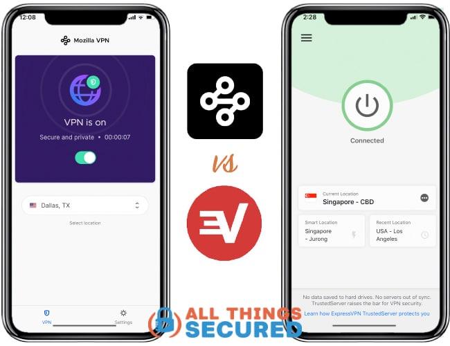 Mozilla VPN vs ExpressVPN apps compared