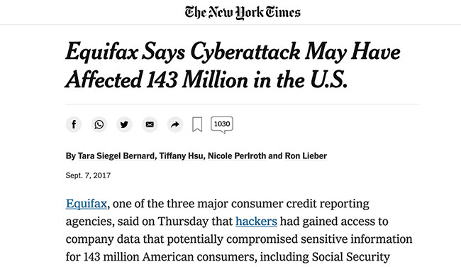 Equifax hack headline from the New York Times