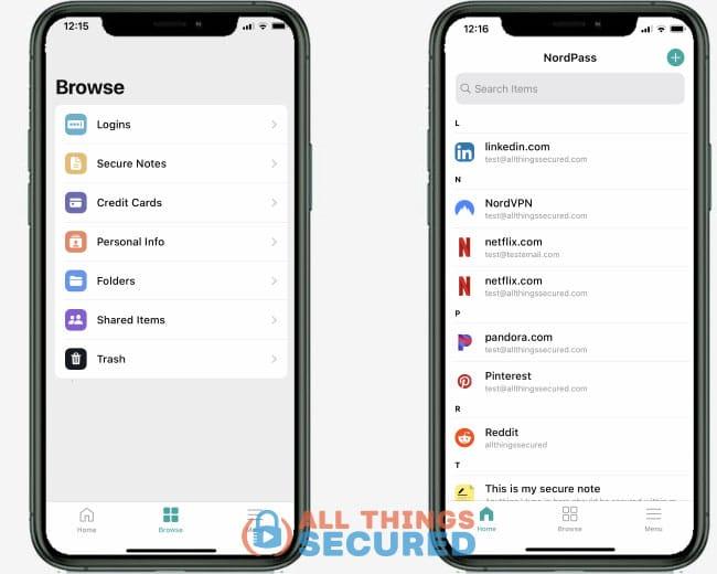 NordPass password manager app home screen
