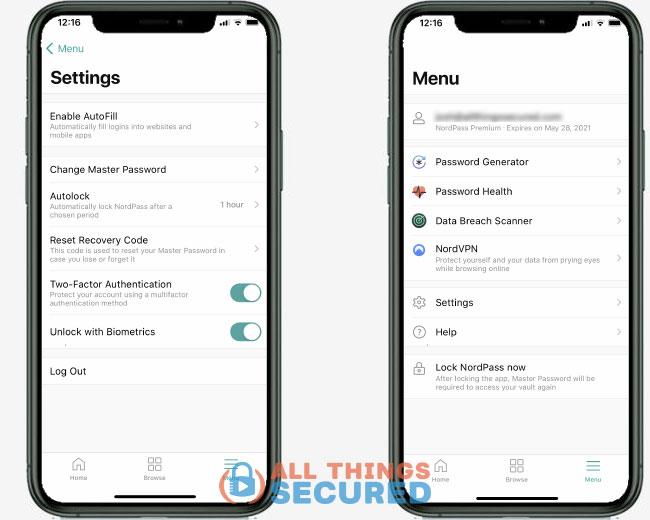 Nordpass app menu and settings
