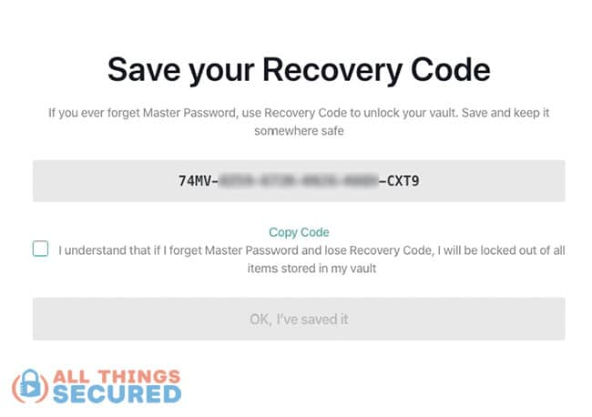 NordPass password manager app recovery code
