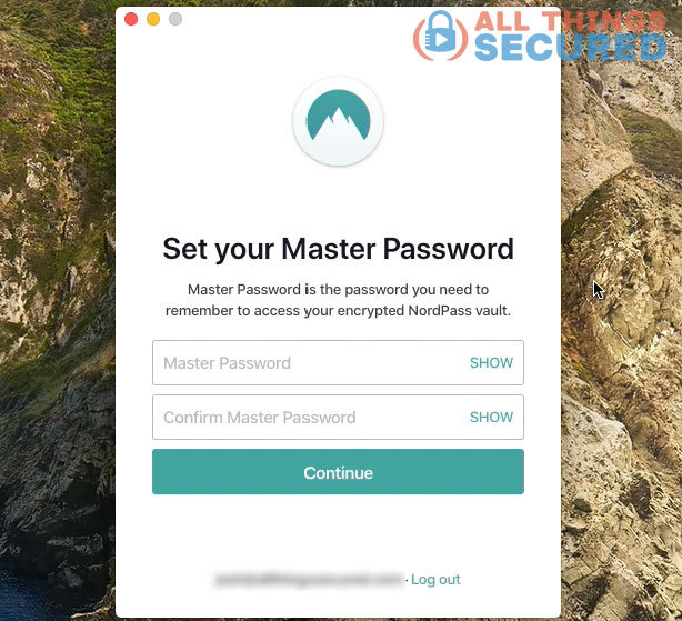 Setting the master password in the Nordpass app