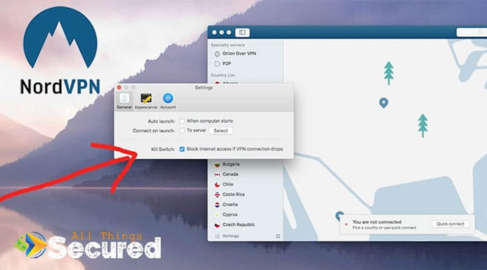 A screenshot showing the settings for the NordVPN kill switch feature