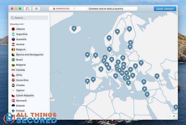 NordVPN Server map