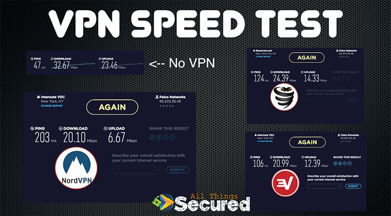 NordVPN speed test versus VyprVPN and ExpressVPN