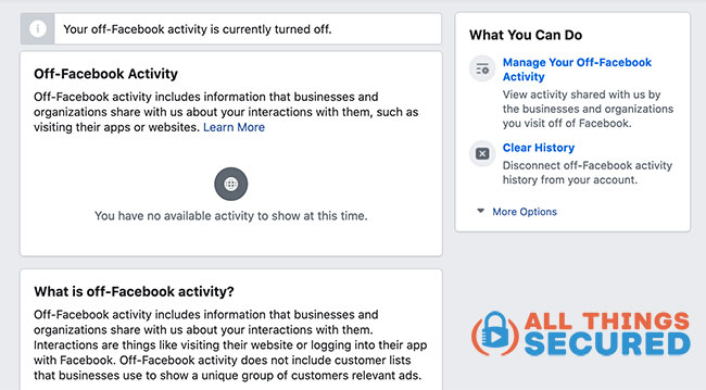 The Off-Facebook Activity settings