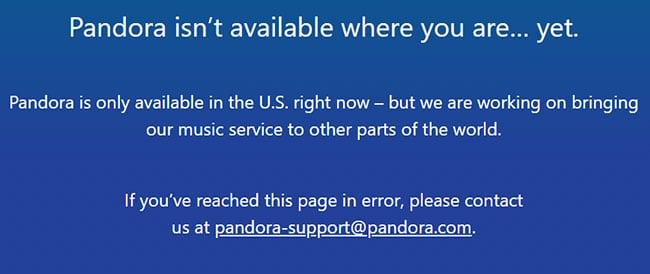 Pandora isn't available message