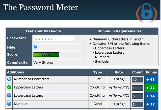 The password meter website screenshot