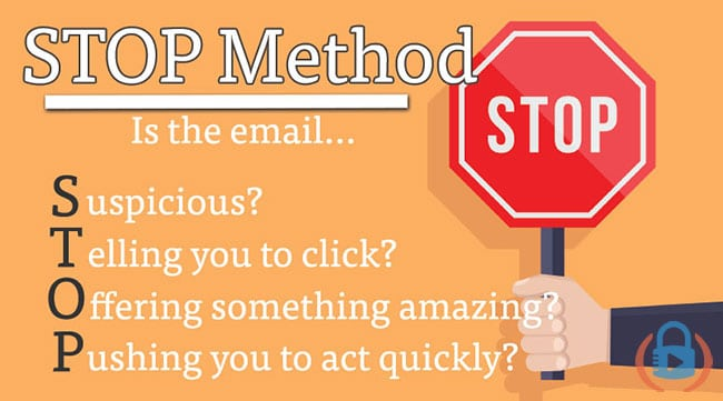 Using the STOP method to defeat email phishing scams