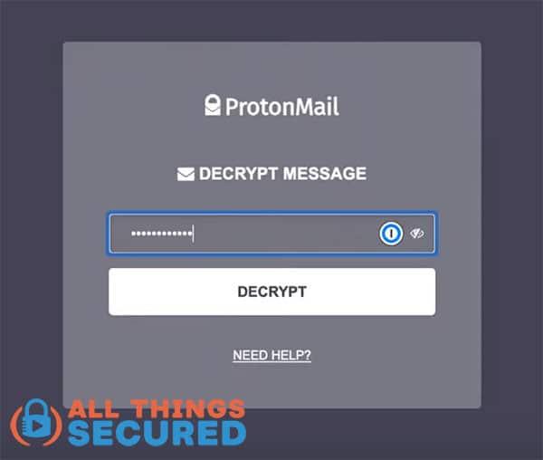 ProtonMail decrypt message