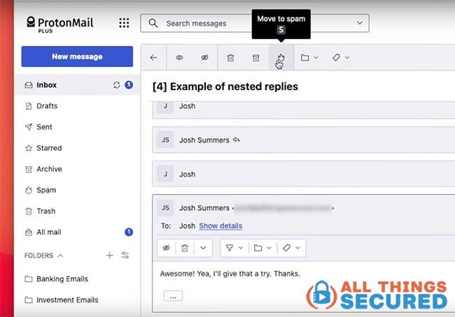 Nested replies in ProtonMail inbox