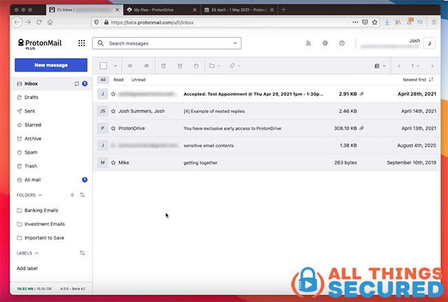ProtonMail inbox
