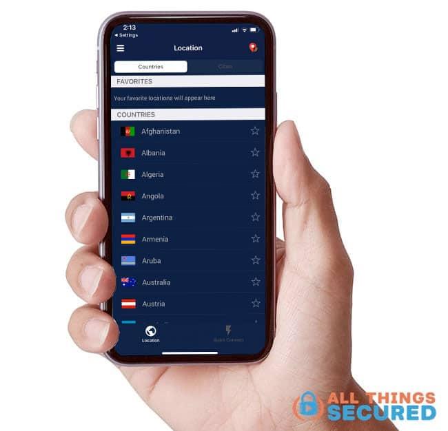 PureVPN Mobile app server locations