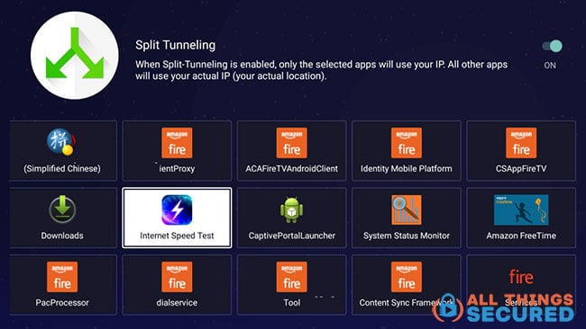 Split tunneling on the Android TV app for PureVPN