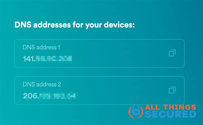 Retrieve your new DNS addresses