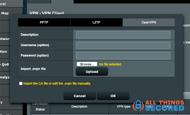 OpenVPN configuration settings for Asus