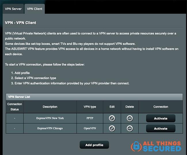 In VPN Client, choose Add profile.