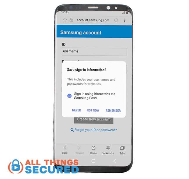 Save passwords in Samsung Pass