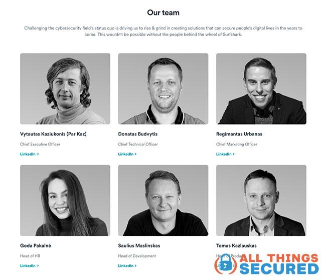 Surfshark VPN Executive Team headshots