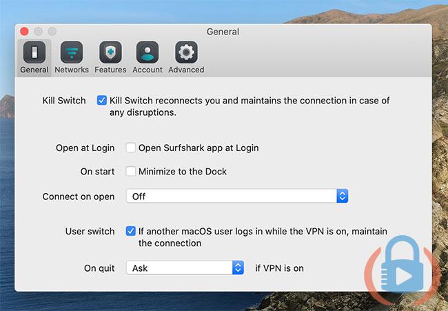 Surfshark desktop app general settings