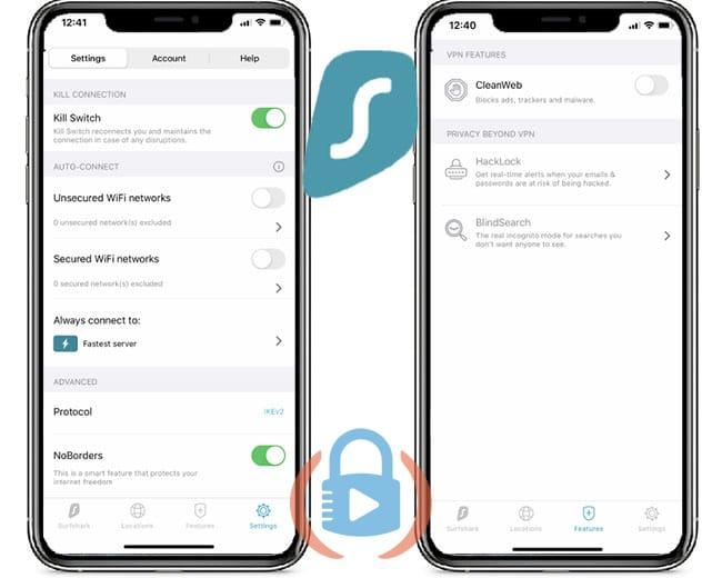 Surfshark mobile app settings
