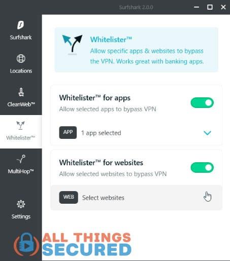 Surfshark VPN whitelister feature