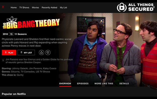 Big Bang Theory Netflix Page
