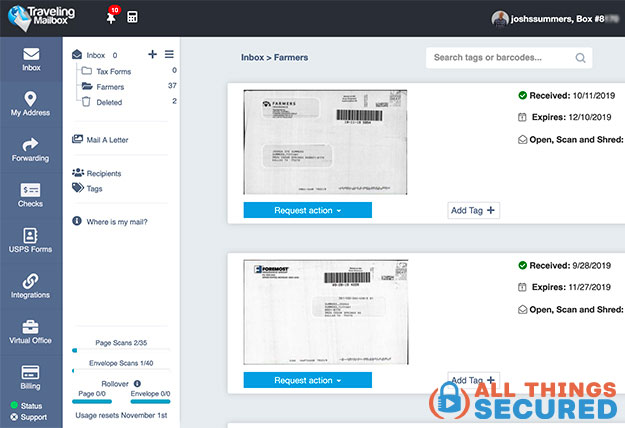 Traveling Mailbox desktop dashboard