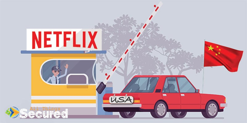 Visual of a car spoofing it's location to fool Netflix, similar to a VPN or SmartDNS