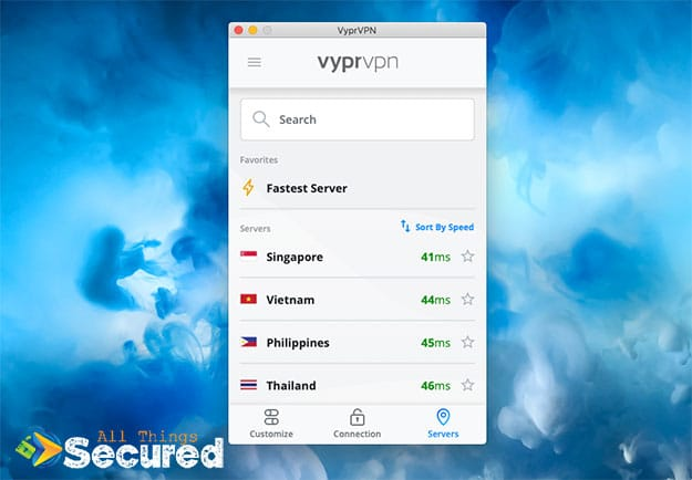 VyprVPN desktop app server options