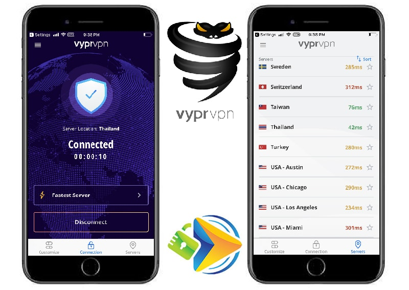 VyprVPN Mobile App home screen and server screen