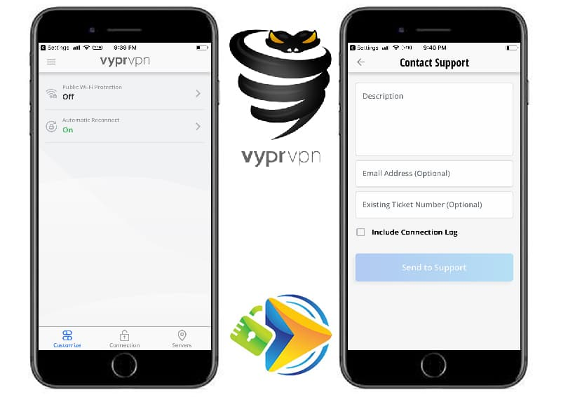 VyprVPN mobile app advanced options and contact tabs