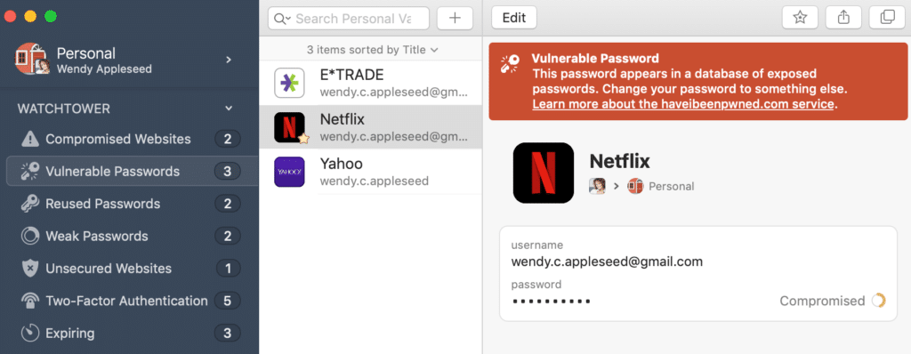 Screenshot of the 1Password Watchtower feature