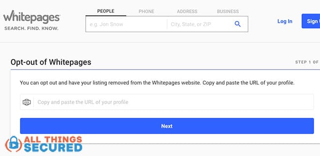 Whitepages suppression request page