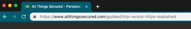 "An example of a website secured with ""https"""