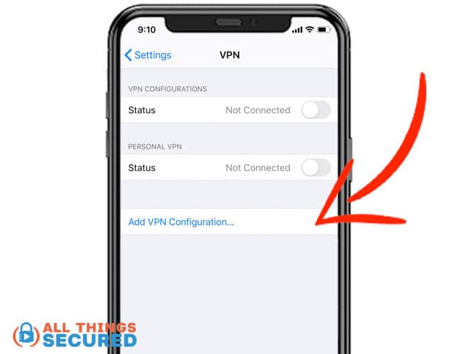 """Click """"Add VPN Configuration"""" in the iPhone settings"""